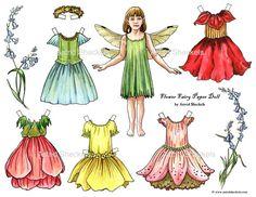 Flower Fairy Paper Doll by AstridSheckelsArt on Etsy, $5.00