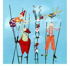 Une joyeuse bande de clowns accompagnés de leurs petits amis. Que le spectacle commence ! Place aux frères trampolini !
