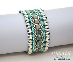 Honeycomb Bracelet made with Czechmates, super duo, round beads and crystals- Beading pattern by ellad2 on Etsy