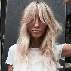 122 70 hairstyles you want for every look - Hair - Hair Brown Blonde Hair, Wavy Hair, Blonde Hair Fringe, Blonde Hair With Bangs, Hair Side Bangs, Blonde Fringe Hairstyles, Platinum Blonde Bangs, Fringe Bangs, Thin Hair