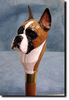 Boxer Dog Walking Stick Our unique selection of handpainted Dog Breed Walking Sticks is sure to please the most discriminating Dog Lover! Be the envy of everyone with this unique canine walking stick.