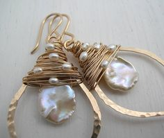 gold keshi pearl leaf hoops by sarah hickey jewellery | notonthehighstreet.com