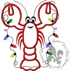 Christmas Crawfish Applique Machine by GeauxBabyBoutiqueLA on Etsy, $4.00