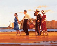 Jack Vettriano:   Good Days' Sunshine -   Oil on canvas  20 x 24 inches