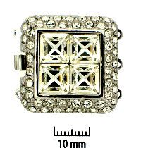 Rhodium Plate, Four Square, Push-Pull Clasp, with Rhinestones (crystal), 3-strands, 27x27mm, (1 clasp)      Land of Odds - Jewelry Design Center  www.landofodds.com