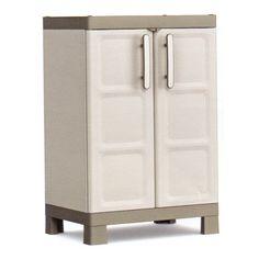Nízká policová plastová skříňka EXCELLENCE Low 9709 je dodávána v barevné kombinaci béžové a světle hnědé, rukojeť je v barvě stříbrná. Lowes, Locker Storage, Police, Cabinet, Furniture, Home Decor, Clothes Stand, Decoration Home, Room Decor