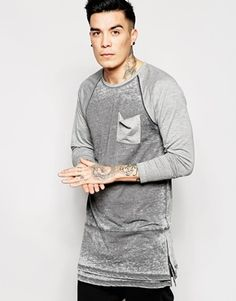 ASOS Super Longline Long Sleeve T-Shirt With Side Zips In Burnout
