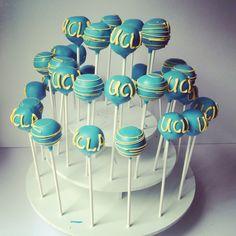 Graduation Blue and Yellow Cake Pops | San Diego Cake Pop Shop