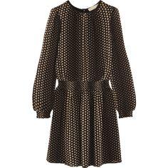 MICHAEL Michael Kors Aralia polka-dot crepe mini dress (£185) ❤ liked on Polyvore featuring dresses, black, smock dress, dot dress, smocked dresses, short sleeve dress and crepe dress