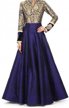 Art+Silk+Machine+Work+Blue+Semi+Stitched+Long+Anarkali+Suit+-+PG01 at Rs 1499