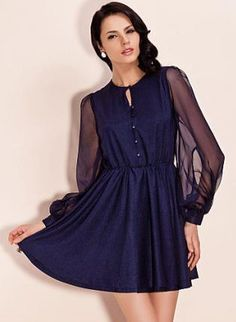 SHIMMERING FUN DRESS WITH SHEER SLEEVE,  Dress, shimmering flowy dress  see through sleeve, Chic