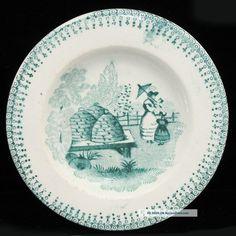 Pearlware Staffordshire Cup Plate Beehive Bee Skep Garden 1830 Transferware