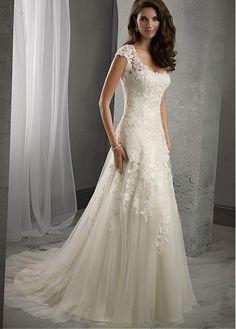 Elegant Tulle Scoop Neckline Natural Waistline A-line Wedding Dress With Beaded…