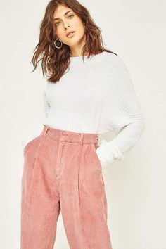 BDG Pink Corduroy Cocoon Trousers | Urban Outfitters | Women's | Bottoms | Trousers #UOEurope #UrbanOutfittersEU