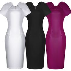 Womens Square Neck Pretty Ladies Bodycon Pencil Dress Cocktail party Celeb Features: Intro:  Cap sleeve knee length Color: Black,White,Purple Material: 95%Polyester/5%Spandex Package:  1 x Dress (other accessories on pictures are NOTincluded.) US SIZE: 4-14 www. apuremall.com