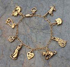 Love My Kitty Cat Charm Bracelet With 14K Gold Filled Chain, 22K Plated Charms