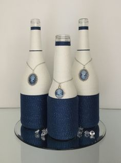Wrapped bottles camee blue/white www.ursulavandongen.com