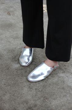 Silver Babouche Slides