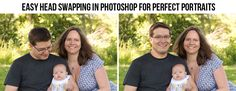 comparison of two photographs with head swapping in Photoshop