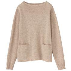 lambwool cashmere boatneck sweater | MUJI