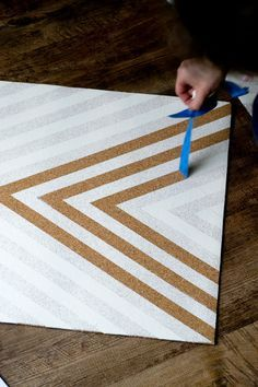 Make a Chevron Cork Board Bulletin Board System, Bulletin Boards, Fabric Corkboard, White Drawers, Chevron Patterns, Pin Boards, Presentation Boards