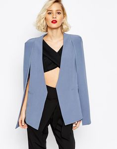 Lavish+Alice+Collarless+Cape+Blazer