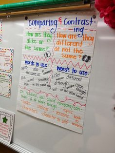 The Fashionista Teacher: Compare and Contrast Anchor Chart