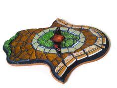 Hamsa Charm, Hand of Fatima, Glass Mosaic, Morrocan Glass ,  Wall Art  Amber Lime , Home Decoration