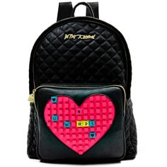 Betsey Johnson Black Buy Me A Vowel Backpack ( 128) ❤ liked on Polyvore  featuring f046735ca2fb4