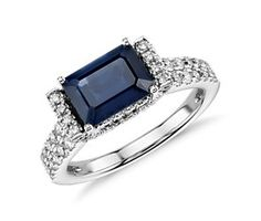 Sapphire and Diamond Emerald-Cut Ring in 18k White Gold (8x6) #BlueNile