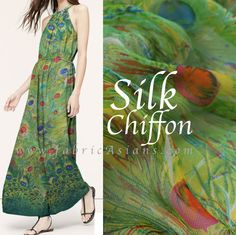 Chiffon Beach Dress in Peacock Feather Prints. DIY Dress Idea by fabricAsians