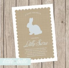 Little Bunny Baby Shower Invitation by LittleBelleDesign on Etsy, $9.99 looks like burlap