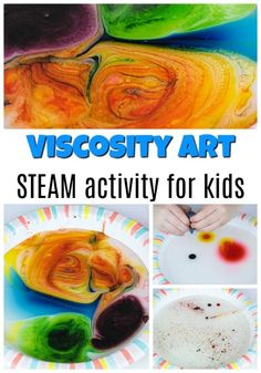 Looking for fun and easy science activities for kids? This viscosity project is a colorful STEAM activity. Make art while experimenting and learning the science of viscosity. Science Week, Science Crafts, Science Activities For Kids, Steam Activities, Easy Science, Summer Science, Science Chemistry, Preschool Science, Science Ideas