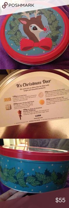 Lush It's Christmas deer gift set Lush UK gift set NOT SOLD IN U.S. it's Christmas deer set with , golden wonders bath bomb , the magic of Christmas bubble bar , beautiful shower gel , snowcake soap , and karma karma body lotion , and large size tin Lush Accessories