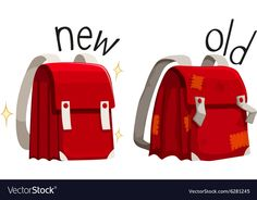 Schoolbag new and old Royalty Free Vector Image Learning English For Kids, English Lessons For Kids, Learn English Words, English Language Learning, Teaching English, English Resources, English Activities, Preschool Learning Activities, Interactive Learning