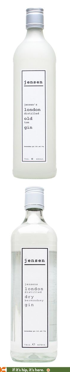 Jensen's Bermondsey Gins (Old Gin and Dry Gin) come in utilitarian looking bottle designs.