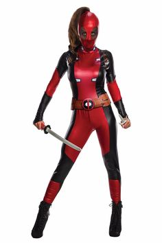 Lady Deadpool Adult Costume This antihero is the ultimate mercenary with super human healing abilities. Includes: Black and red jumpsuit, belt and mask. Available Size: Small Medium Large This is an officially licensed Disney's Marvel Deadpool product. Lady Deadpool, Female Deadpool, Deadpool Funny, Deadpool Movie, Super Hero Costumes, Girl Costumes, Adult Costumes, Costumes For Women, 1960s Costumes