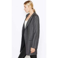 Women's Garner Blazer Made Of Wool Women's Blazers By Equipment (€625) ❤ liked on Polyvore featuring outerwear, jackets, blazers, black multi with lining, wool lined jacket, lined jacket, oversized black blazer, oversized jacket and black blazer
