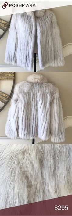 AMAZING Arctic fox fur coat size small Stunning and truly gorgeous arctic fox fur coat. This is super hip and oh so stylish! No flaws! Stunning! Genuine arctic white fox fur. You could pay $3000+ for these! Gorgeous steel gray lining and pockets. Hidden hook closure in front. Did I say perfect condition? Yep! Jackets & Coats