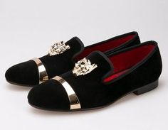 Men handmade Black velvet with tiger and gold buckle Loafers Shoes