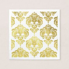 Gold & White Damask Vintage Wedding Event Party Paper Napkin - bridal shower gifts ideas wedding bride