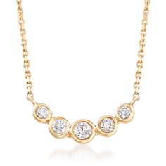 With just the right amount of sparkle for any day, anywhere - our .33 ct. t.w. bezel-set diamond necklace is set in polished 14kt yellow gold and finishes with a springring clasp. Bezel-set diamond necklace. Free shipping & easy 30-day returns. Fabulous jewelry. Great prices. Since 1952.