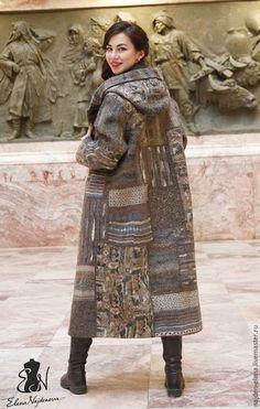 Купить авторское пальто Пэчворк - комбинированный, пальто, валяное пальто, одежда из войлока, пальто с капюшоном