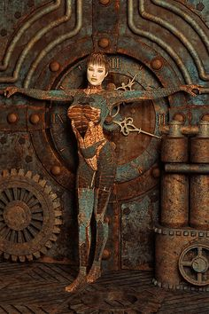 Steampunk Camouflage - Fantasy Art. A steampunk woman is wearing a bodysuit that blends into its surroundings. The perfect outfit for ninjas and assassins. This human chameleon is standing next to a rusted steam clock, but it no longer works. Created by artist Liam Liberty www.liamliberty.com - Museum quality art prints for sale, starting at $18 - Many formats to choose from, including canvas.