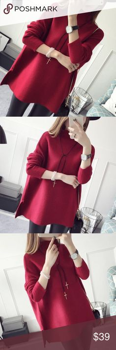 "Christmas  red slouchy sweater Material: acrylic and cotton blended Measurement: length: 26-27"" bust: 48-49"", around, sleeve length-14"" shoulder to shoulder- 23-24"" Sweaters"