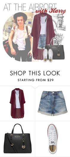 """""""at the airport with harry"""" by fangirlsets ❤ liked on Polyvore featuring Chicnova Fashion, Topshop, MICHAEL Michael Kors and Converse"""