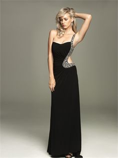 One Shoulder strapless with beads and sequins side Cut-out Chiffon Prom Dress PD10526 www.dresseshouse.co.uk $110.0000