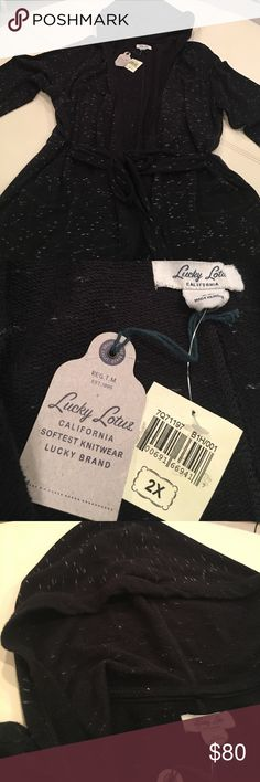 Lucky Brand Hooded Sweater (Lucky Lotus)  **NWT** New with tags, but please note that I cut off the price because it was supposed to be a gift to someone.  Sweater was never worn.  Hooded sweater with belt; no buttons; belt around waist; front pockets. Lucky Brand Sweaters