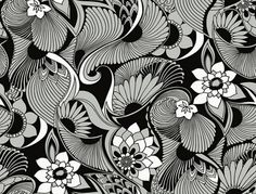 Aubrey Wallpaper from York Wallcoverings Florence Broadhurst Black Formal Elements Of Art, Florence Broadhurst, Wallpaper Warehouse, Plant Wallpaper, Metallic Wallpaper, Aesthetic Movement, Contemporary Wallpaper, Australian Artists, Textile Artists