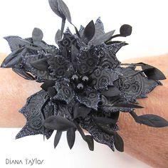 Halloween bracelet by Velvet Moth Studio for Paper Artsy (using Tim Holtz Poinsettia die)